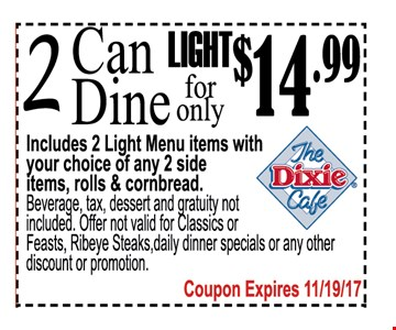 2 Can Dine Light for only $14.99