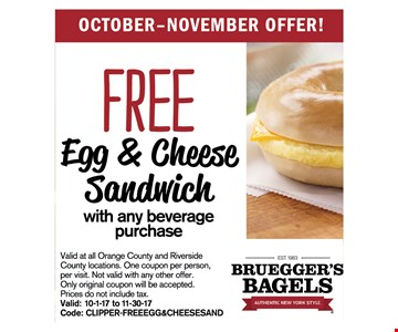 Free egg and cheese sandwich
