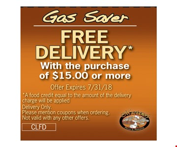 Free Delivery w purchase of $15 or more