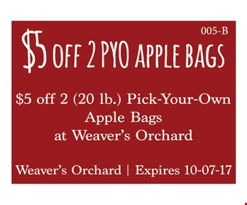 $5 off 2 PYO Apple Bags