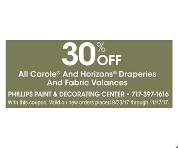 30% Off All Carole & Horizons Draperies & Fabric Valances