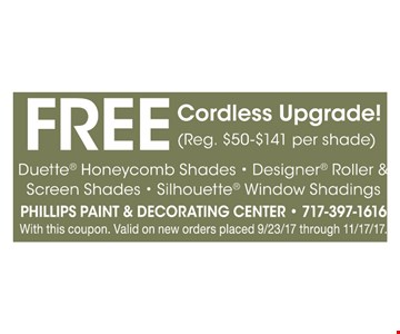 Free cordless Duette honeycomb, designer roller * screen, silhoutte window shadings
