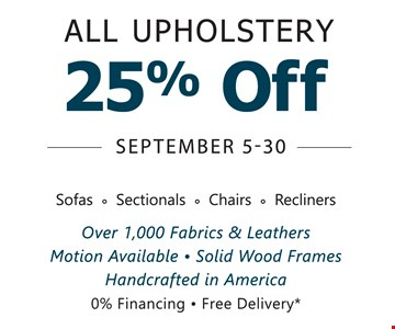 25% Off All Upholstry