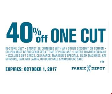 40% Off One Cut