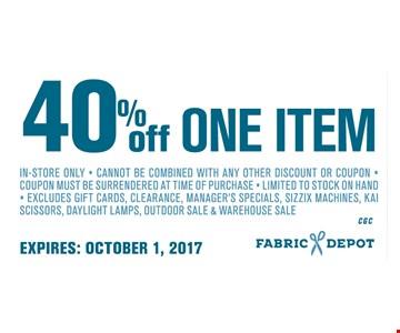 40% Off One item
