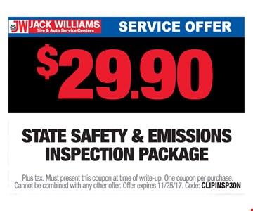 $29.90 state safety & emissions inspection package