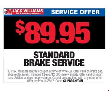 $89.95 Standard oil change service