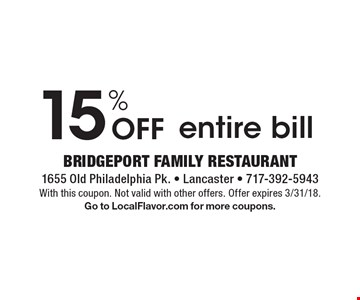 15% Off entire bill. With this coupon. Not valid with other offers. Offer expires 3/31/18. Go to LocalFlavor.com for more coupons.