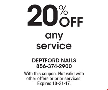 20% Off any service. With this coupon. Not valid with other offers or prior services. Expires 10-31-17.