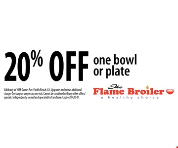 20% off one bowl or plate. Valid only at 1088 Garnet Ave, Pacific Beach, CA. Upgrades and extras additional charge. One coupon per person per visit. Cannot be combined with any other offers/specials. Independently owned and operated by franchisee. Expires 10-20-17.