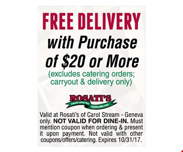 Free delivery with the purchase of $20 or more