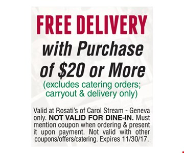Free Delivery with purchase of $20 or more