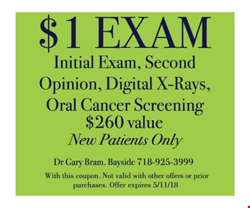 $1 exam new patient only
