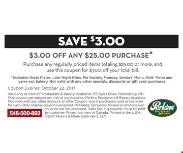 $3 off any $25 purchase.