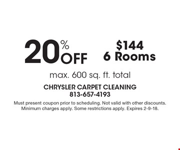 Max. 600 sq. ft. total. 20% OFF, $144, 6 Rooms. Must present coupon prior to scheduling. Not valid with other discounts. Minimum charges apply. Some restrictions apply. Expires 2-9-18.