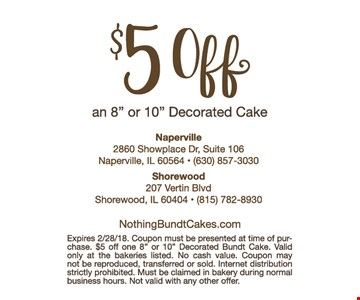 $5 off a decorated cake.