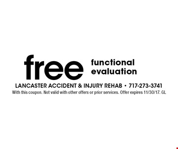 free functional evaluation. With this coupon. Not valid with other offers or prior services. Offer expires 11/30/17. GL