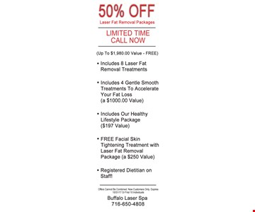 50% Off Laser Fat Removal Packages