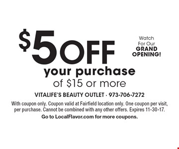 $5Off your purchase of $15 or more. With coupon only. Coupon valid at Fairfield location only. One coupon per visit, per purchase. Cannot be combined with any other offers. Expires 11-30-17.Go to LocalFlavor.com for more coupons.