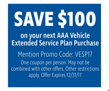 Save $100 on your Next AAA Vehicle  extended service Plan Purchase