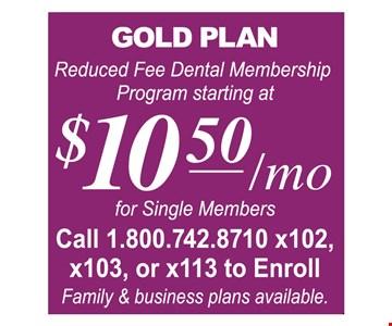 Gold Plan $10.50/mo