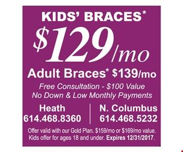 Kids' Braces $129/mo