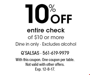 15% Off entire check of $10 or more. Dine in only. Excludes alcohol. With this coupon. One coupon per table. Not valid with other offers. Exp. 12-8-17.