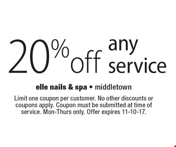 20% off any service. Limit one coupon per customer. No other discounts or coupons apply. Coupon must be submitted at time of service. Mon-Thurs only. Offer expires 11-10-17.