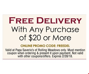 Free Delivery with Any purchase of $20 or More