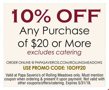10% off any purchase of $20 or more