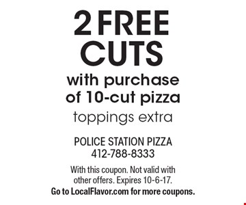2 Free cuts with purchase of 10-cut pizza toppings extra. With this coupon. Not valid with other offers. Expires 10-6-17. Go to LocalFlavor.com for more coupons.