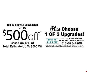 Up to $500 off Tub-To-Shower Conversion Plus Choose 1 of 3 Upgrades! Based On 10% Of Total Estimate Up To $500 Off. Consultation must occur on or before 10-31-17.