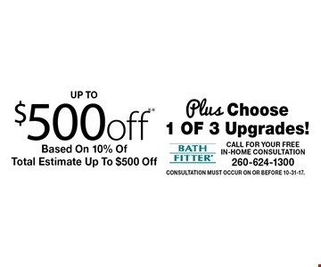 up to $500off** Based On 10% Of Total Estimate Up To $500 Off Plus Choose 1 of 3 Upgrades!. Consultation must occur on or before 10-31-17.