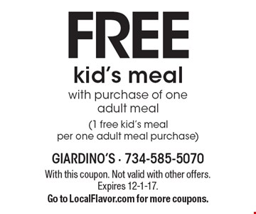 Free kid's meal with purchase of one adult meal (1 free kid's meal per one adult meal purchase). With this coupon. Not valid with other offers. Expires 12-1-17. Go to LocalFlavor.com for more coupons.
