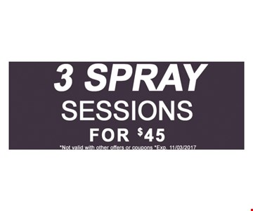 3 spary sessions for $45