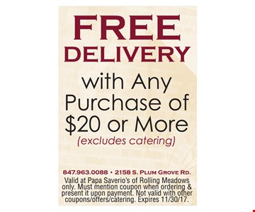 Free Delivery w/ Any Purchase of $20 or More