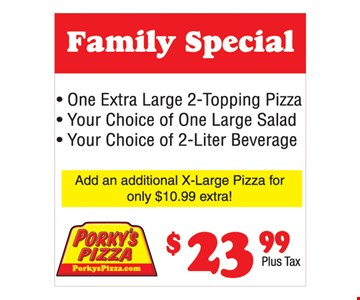 $23.99 1 Extra large 2-topping pizza, Your choice of 1 large salad and your choice of 2-liter beverage
