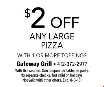 $2 off any large pizza with 1 or more toppings. With this coupon. One coupon per table per party. No separate checks. Not valid on holidays. Not valid with other offers. Exp. 8-3-18.