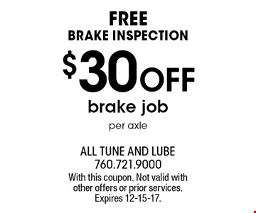 Free Brake Inspection. $30 off brake job, per axle. With this coupon. Not valid with other offers or prior services. Expires 12-15-17.