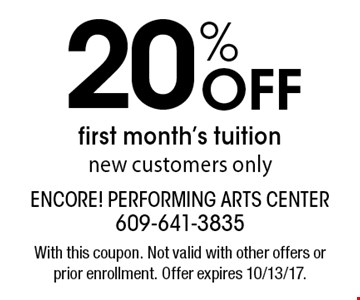 20% Off first month's tuition. New customers only. With this coupon. Not valid with other offers or prior enrollment. Offer expires 10/13/17.