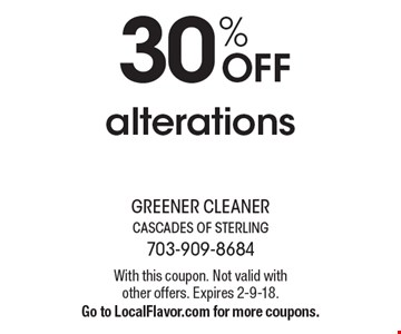 30% OFF alterations. With this coupon. Not valid with other offers. Expires 2-9-18.Go to LocalFlavor.com for more coupons.