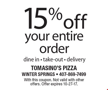 15% off your entire order dine in - take-out - delivery. With this coupon. Not valid with other offers. Offer expires 10-27-17.