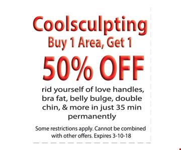 Coolsculpting: Buy 1 Area, Get 1 50% Off