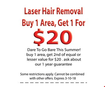Buy 1 area Laser Hair Removal Get 1 For $20