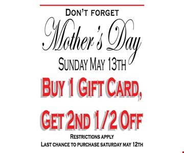 Buy 1 gift card, get 2nd half off