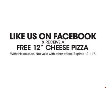 Like us on Facebook & receive a free 12