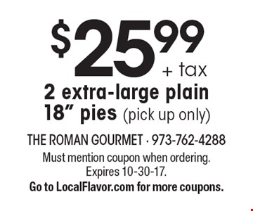 $25.99 + tax 2 extra-large plain 18