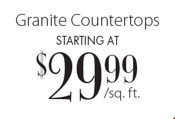 Starting at $29.99 Granite Countertops.