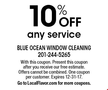 10% OFF any service. With this coupon. Present this coupon after you receive our free estimate. Offers cannot be combined. One coupon per customer. Expires 12-31-17. Go to LocalFlavor.com for more coupons.