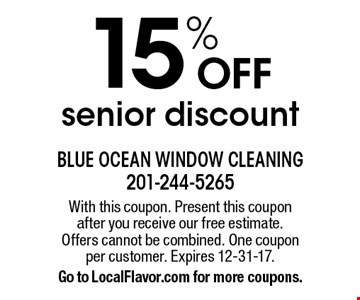15% OFF senior discount. With this coupon. Present this coupon after you receive our free estimate. Offers cannot be combined. One coupon per customer. Expires 12-31-17. Go to LocalFlavor.com for more coupons.